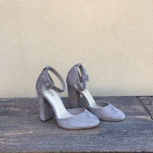Like New-JustFab Mink Suede ankle strap heels